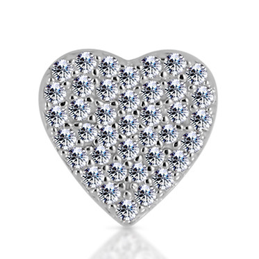 14k White Diamond Heart