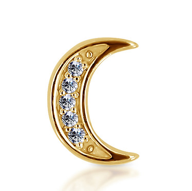 14k Yellow Diamond Moon
