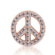 14k Rose Diamond Peace Sign