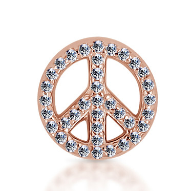 14k Rose Diamond Peace Sign