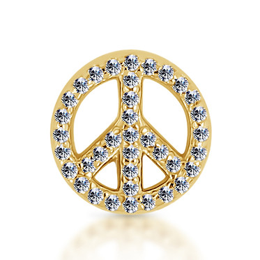 14k Yellow Diamond Peace Sign