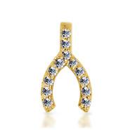 14k Yellow Diamond Wishbone