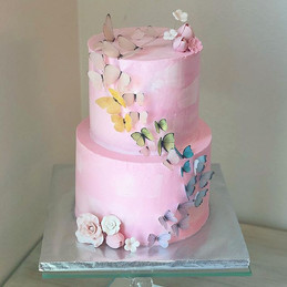Gorgeous Light pink cake with edible pas