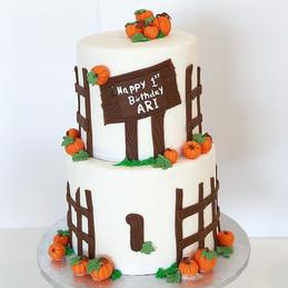 "Pumpkin Cake to celebrate ""1st Day of Fa"