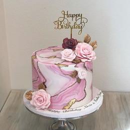 Golden Marble Birthday cake with handmad