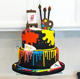 Colorful Artistic Fondant cake for a bea