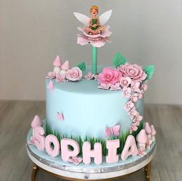 Thinker Bell Birthday Cake with sugar fl