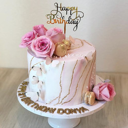 Floral Marble Birthday Cake with Edible
