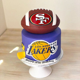 2 tiered cake for a _lakers & _49ers fan