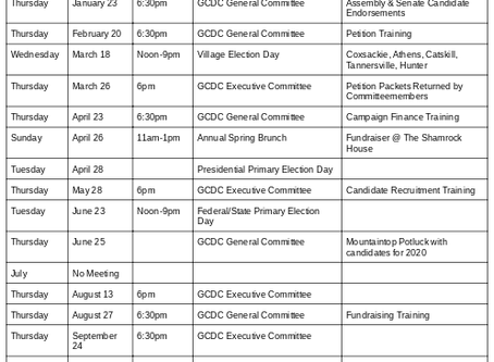 Proposed 2020 Committee Calendar