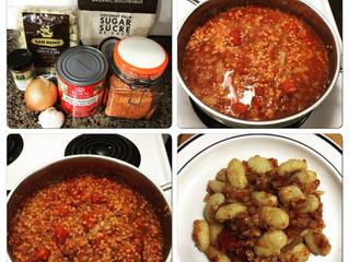 Gluten-Free Gnocchi in a Spicy Lentil Tomato Sauce