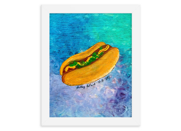 Chicago Style Hot Dog Framed Poster Print