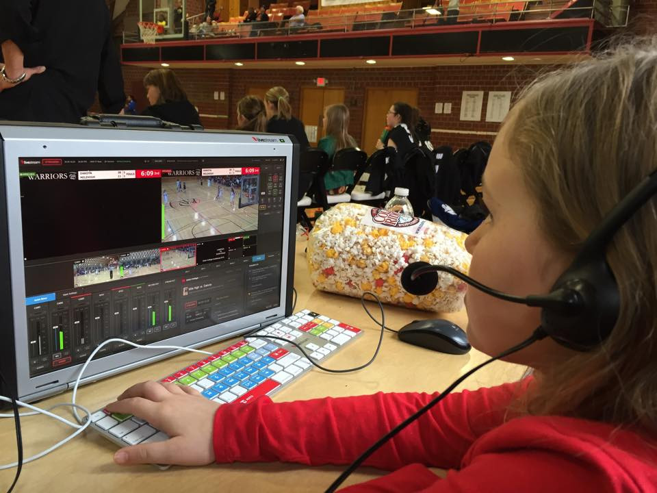 Our youngest, Lizzie (age 8), took her turn running the video production switcher during the Union College Invitation Basketball Tournament 2015. My husband, Wrangler Ryan, was short staffed, so we all pitched in to help.