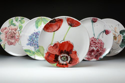 Set of 5 Flower Dinner plates.jpg