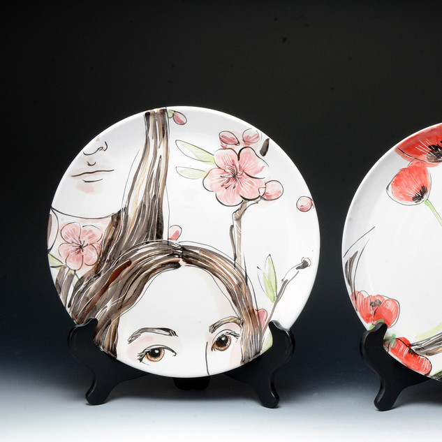 Two Women with Flowers Dinner Plates