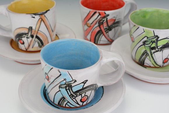Set of Four Espresso Bicycle Cups