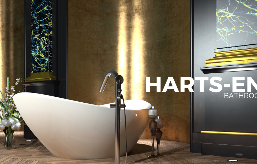Luxury free standing bath and free standing tap in solid wood floor bathroom.png