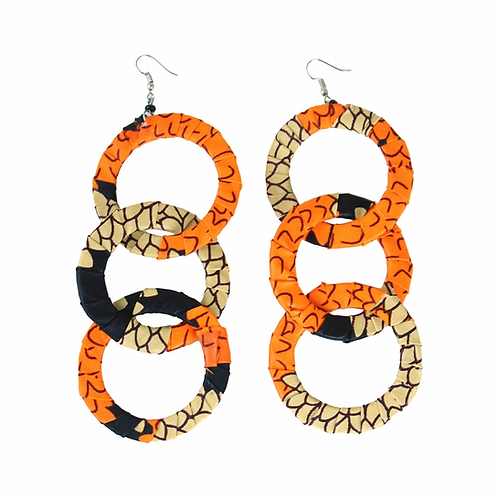 Orange Ankara earrings