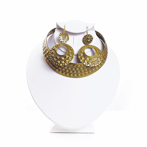Brass choker earring set