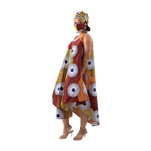 Orange umbrella dress / mask set