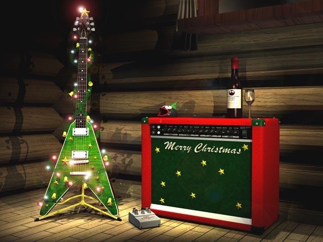 Merry Christmas guitar and amp
