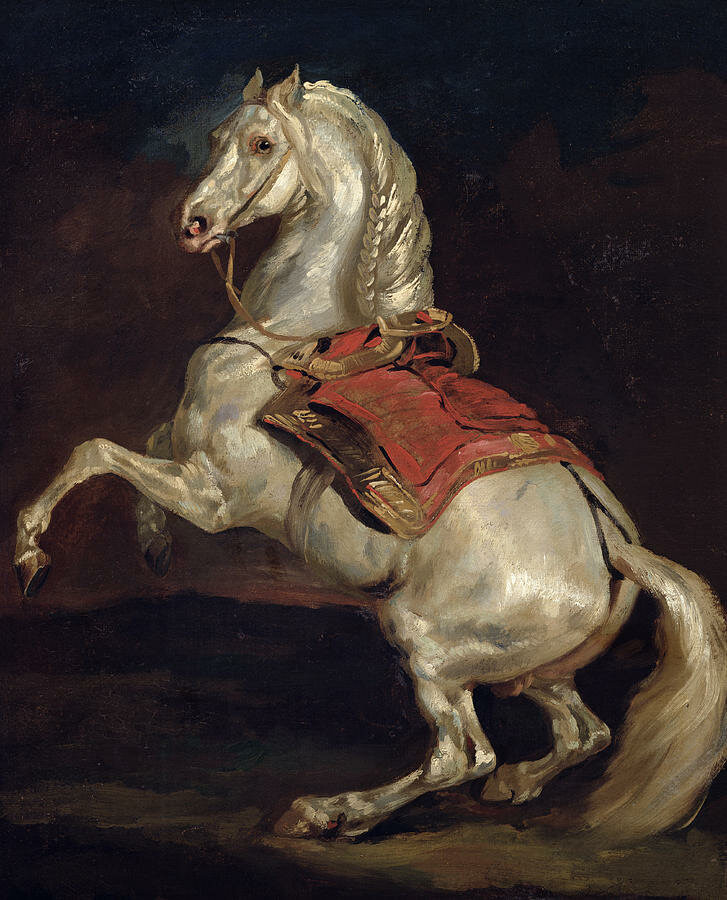 Картина маслом, белая лошадь