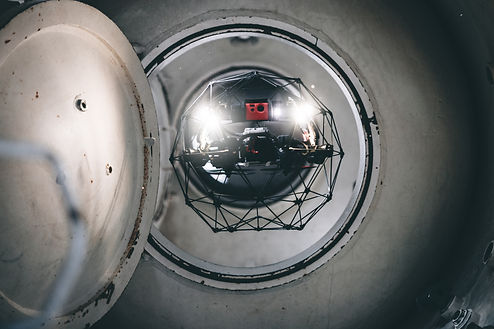 Confined space drone Elios 2 inspecting