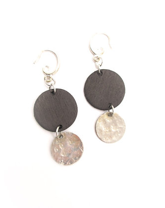 Hammered spoon bowl earrings.