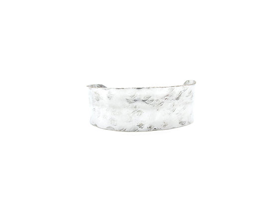 Hammered silverware tray cuff.