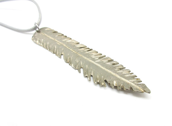 Knife blade feather necklace.