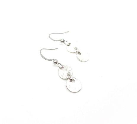 Hammered spoon bowl earrings.