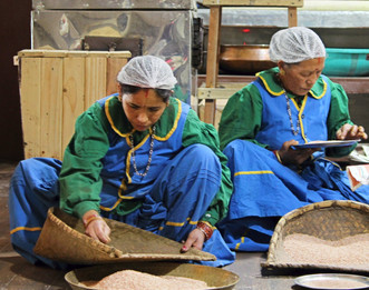 L;ADIES SORTING OUT WASTE FROM  POUNDED RICE