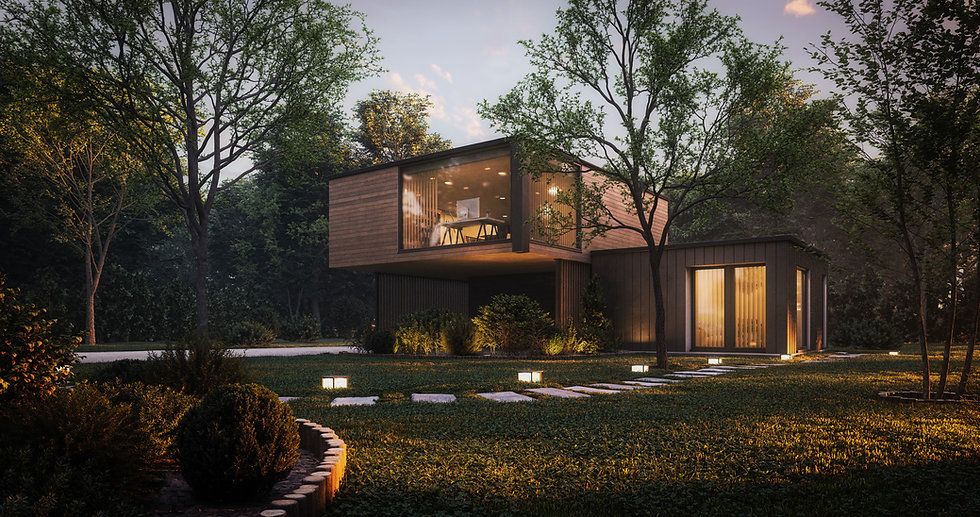 wooden residence in a forest