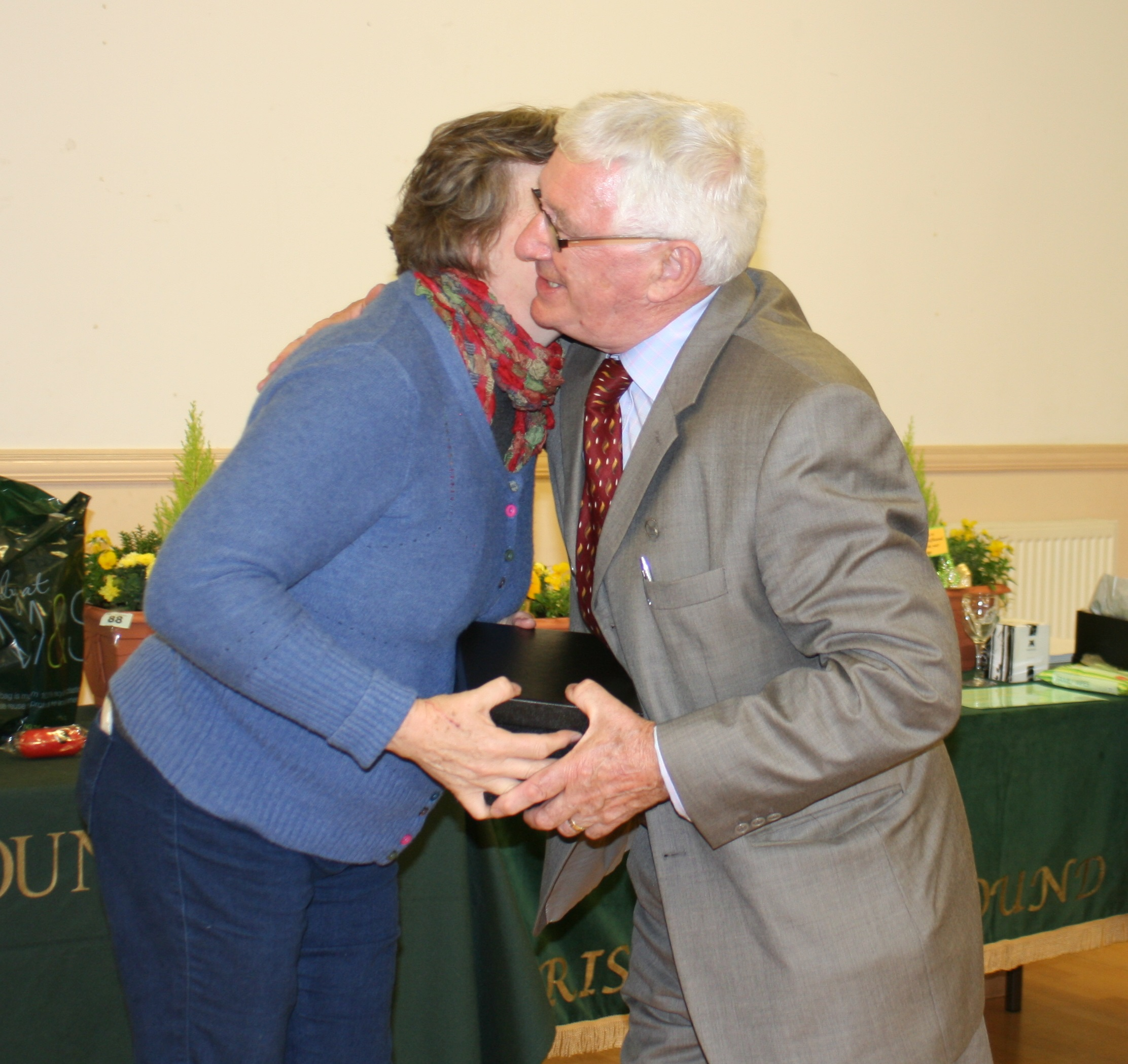 Presentation. Mrs Elizabeth Thornton to Jim Behan