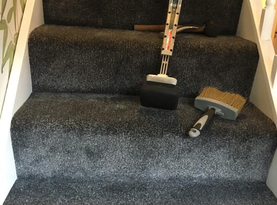 Luxury Grey Carpet mid-install