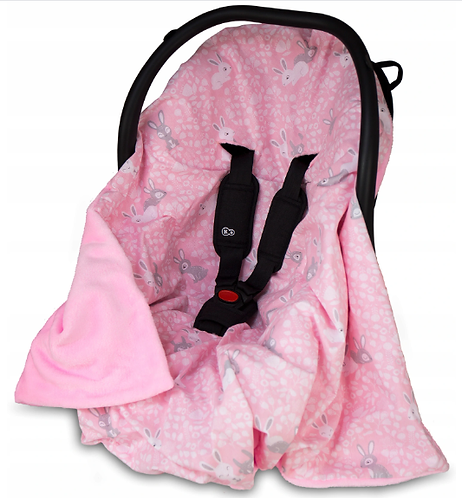 All-Season Car Seat Blanket SIZE+ PINK&BUNNY