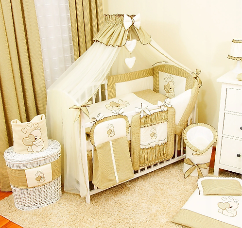 17 Pcs Layette - SET WITH COT AND MATTRESS- BEIGE