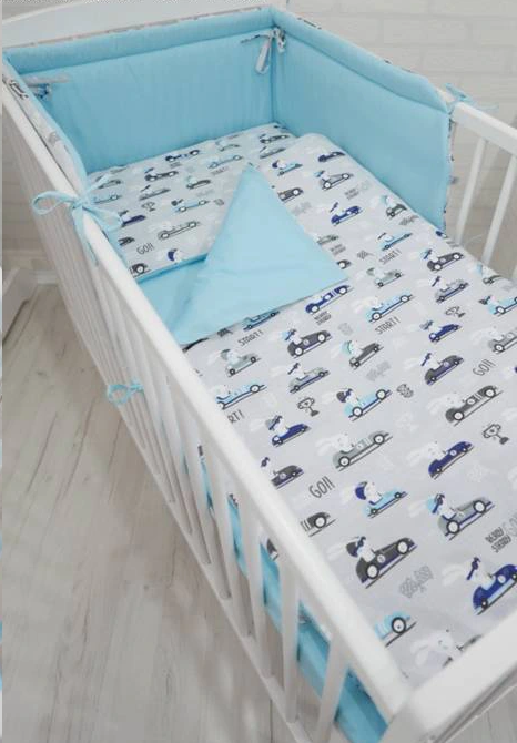 Cot Bedding Set-Blue Race