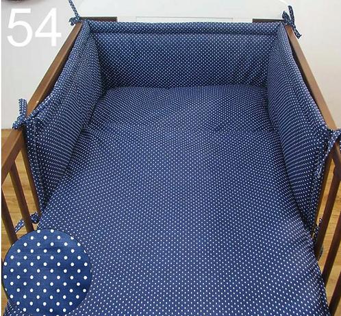 3 Pcs Cot Bedding Set- Navy&Dots