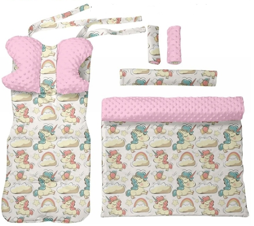 Pink minky & unicorns -  6 pcs linner set