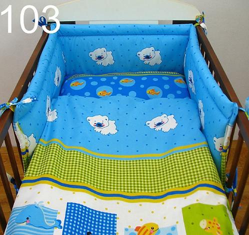 3 Pcs Cot Bedding Set- Animals Blue Edition