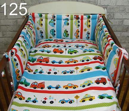 3 Pcs Cot Bedding Set- Cars