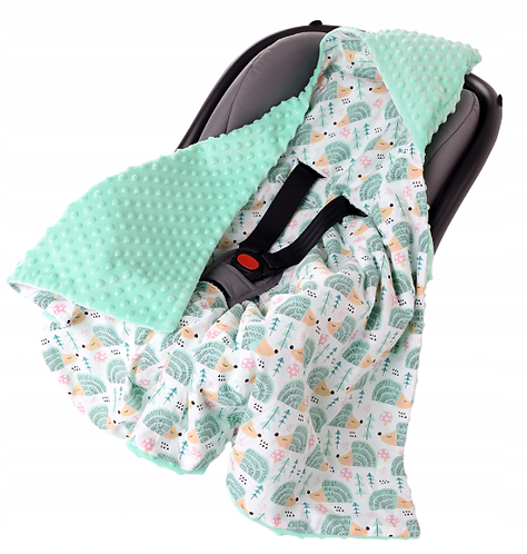 Hooded All-Season Car Seat Blanket MINT& HEDGHOG