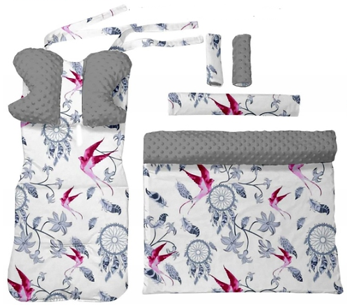 Gray minky & swallows -  6 pcs linner set