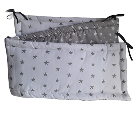 COT BUMPER PROTECTION -GREY& WHITE STARS