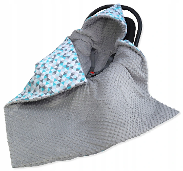 Large Hooded Winter Car Seat Blanket GRAY& TRIANGLES