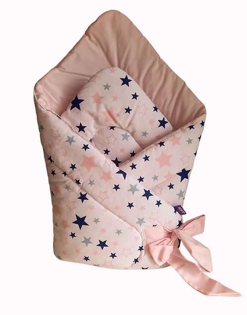 swaddle/wrap -pink&navy stars