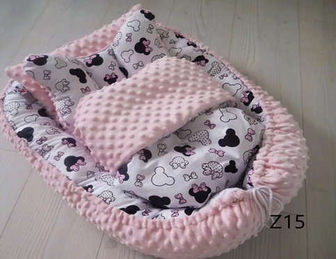 Baby Nest Set - Minie Mouse & Pink Minky SIZE SMALL