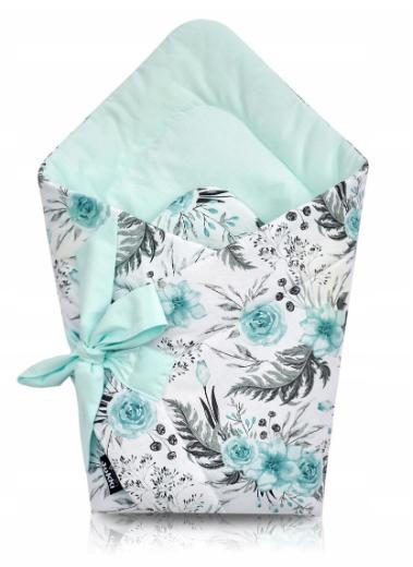 JUKKI swaddle/wrap -mint flowers