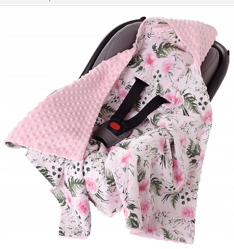 Hooded All-Season Car Seat Blanket PINK& GARDEN
